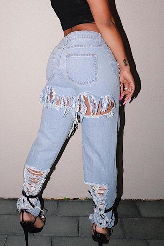 back_Mid Waist   Straight Wash Light Blue Women Jeans