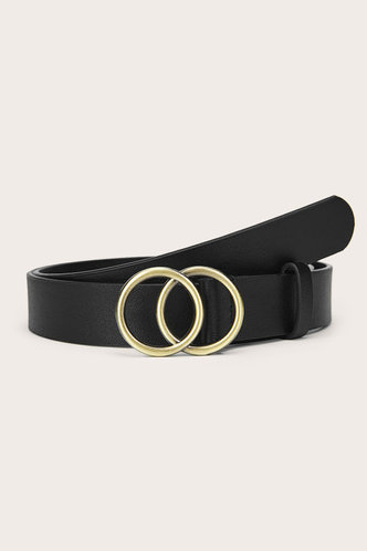 front_Roxanne Edith Black Double O-ring Buckle Belt