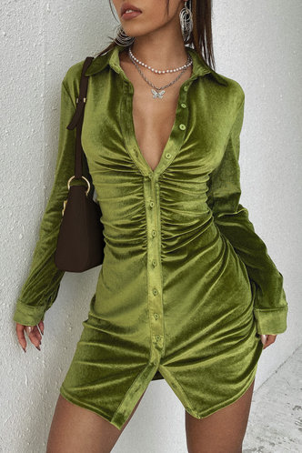 front_Elizabeth Army Green Velvet Shirt Dress