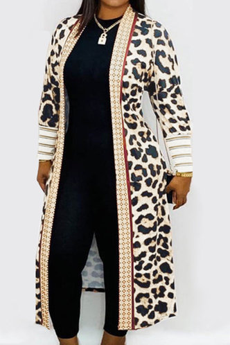 front_Casual Leopard Print Leopard Print Outerwear