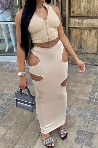 back_Solid Hollow Out Regular Sleeve Zipper Up Khaki Skirt Sets