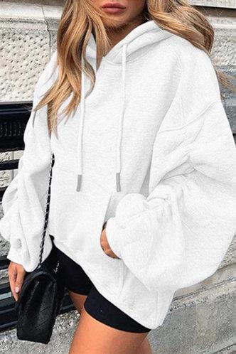 back_Camilla Evangeline White Drawstring Pocket Hoodie