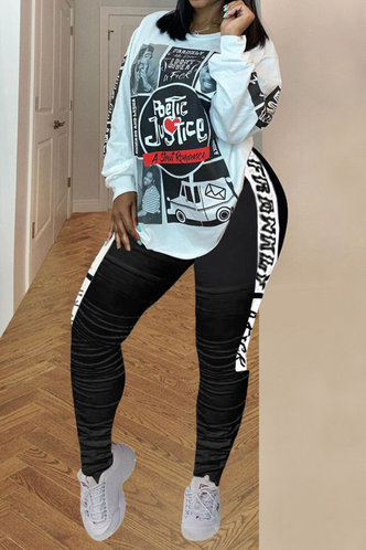front_All Over Print Pullover Black And White Pants Sets