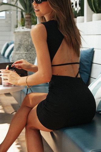 front_Kaley Elaine Black Open Back Dress