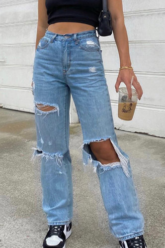 back_Fredrica Blue Distressed Jeans