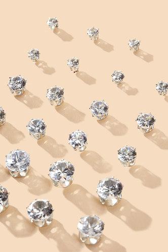 back_Michaelia Edith Sliver Rhinestone Decor Earrings 12pairs