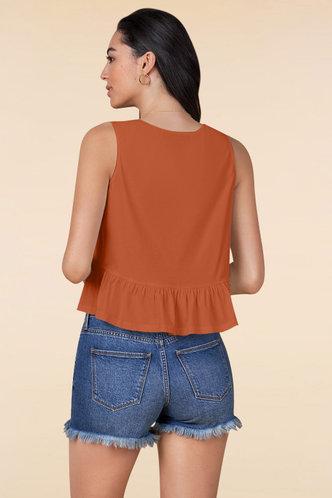 back_Steady Love Orange Sleeveless Top