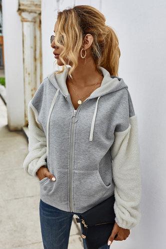 front_Efia Light Grey Hooded Jacket