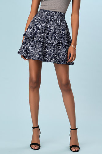 front_Dazzling Experience Blue Polka Dot Skirt