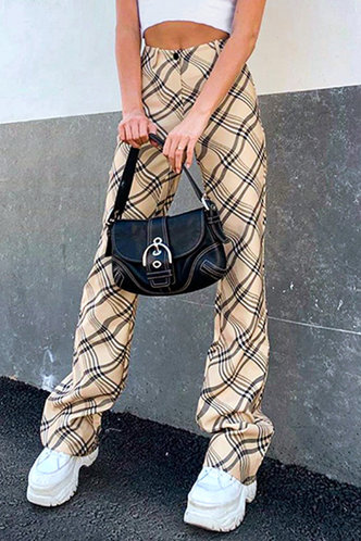 front_Clara Ella Khaki Plaid Pants