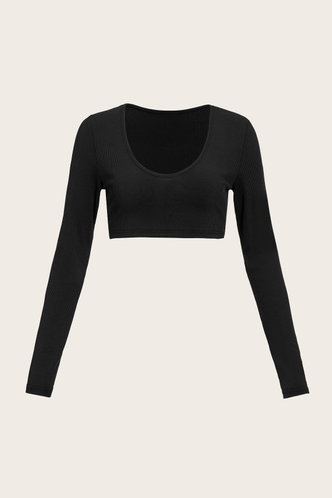 back_Zola Evangeline Black Rib Knit Plunging Neck Crop Top