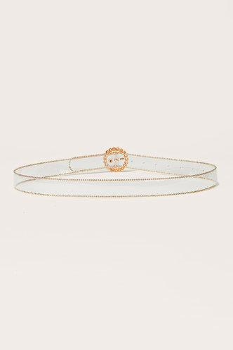 back_Edna Elsie Pearl White And Gold O-ring Buckle Belt