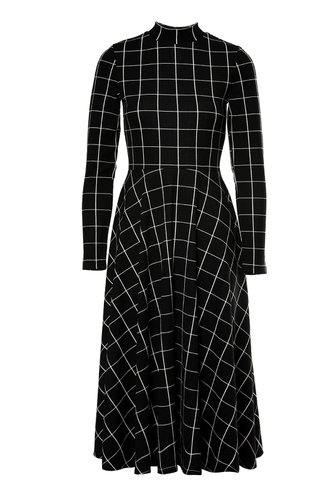 front_Modern Moment Black And White Plaid Flare Midi Dress