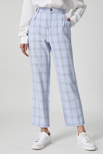 back_Check Up Grey Plaid Tailor Pants