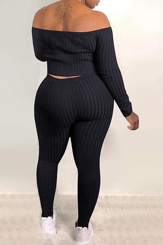 back_Pullover and   Black Plus Size Pants Sets