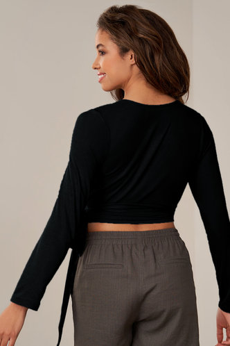 back_On The Line Black Long Sleeve Top