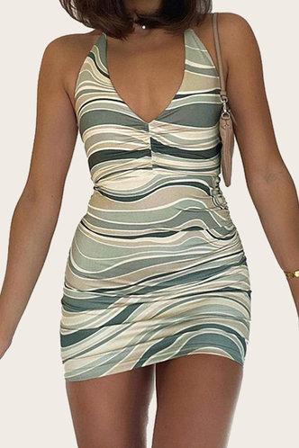 front_Hedda Kvarop Wave Print Plus Halter Bodycon Dress