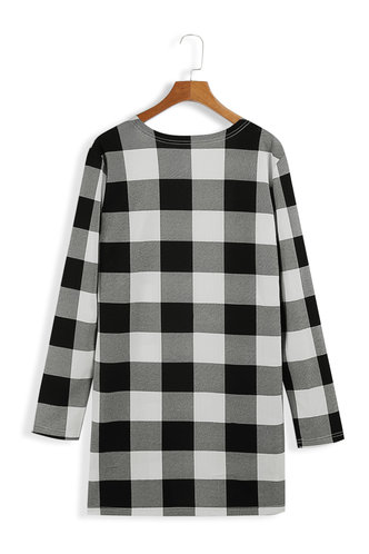 back_Key To My Heart Black And White Plaid Open Front Coat