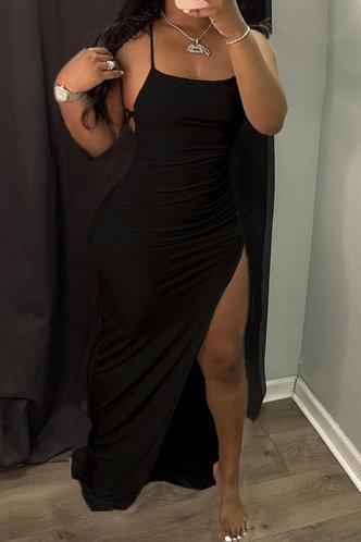 front_High Split Black  Dresses