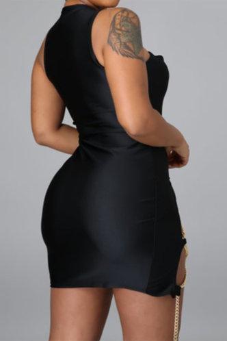 back_Fidelia Eudora Black Lace Up Bodycon Dress