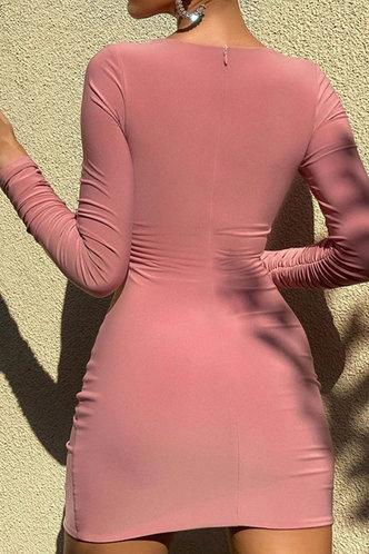 back_Candance Erica Pink Twisted Drawstring Side Cutout Dress