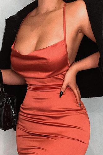 front_Britt Eartha Rust Red Tie Open Back Dress