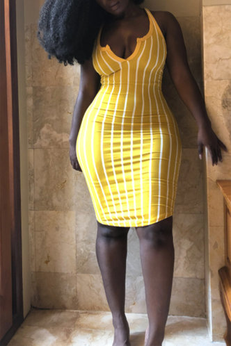 back_Shopping Vacation Beach Sleeveless Yellow Striped Striped Dresses