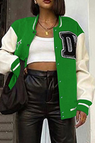 front_Preppy Baseball Collar Color Block Pocket Green And White Outerwear