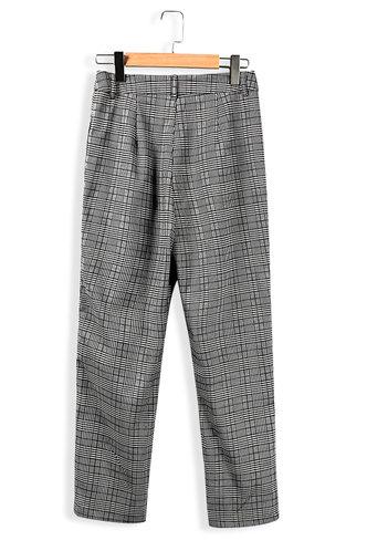 back_Ray Of Light Grey Plaid Pants