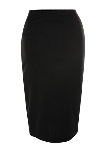 back_Button Up Your Story Black Pencil Skirt