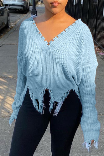 back_V Neck Plain  other Dropped Shoulder Baby Blue Sweaters