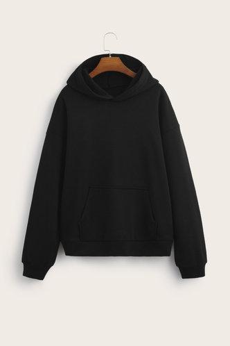 back_Sporty Hooded Collar Letter Print Black Sweatshirts & Hoodies