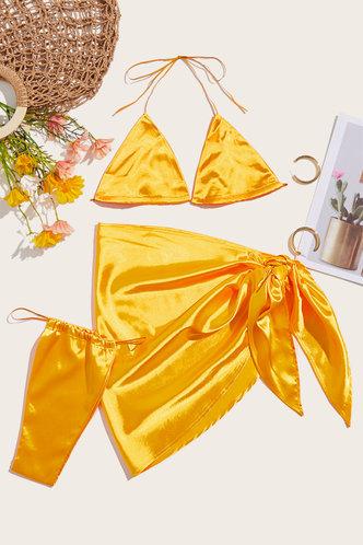 back_Halter Solid Color Bandage Backless Glolden Yellow Bikini Sets