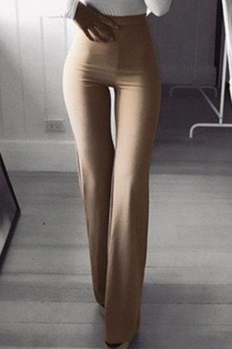 front_High Waist Flare Leg Light Khaki Pants