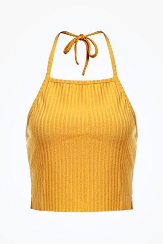back_Celeste Elaine Yellow Crop Halter Top