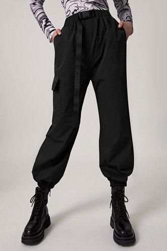 front_Ann Elsie Chic Solid Color Spandex  Black Sweatpant