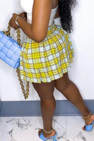back_Evelyn Loghej Yellow Plaid Skirt