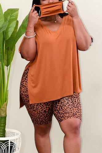 front_Delicia Eunice Leopard Print Plus Size Shorts Set