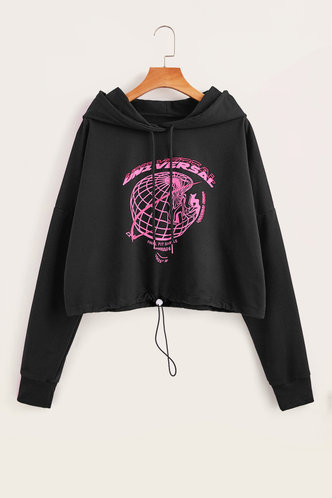 back_Street Hooded Collar Graphic Print Black Sweatshirts & Hoodies