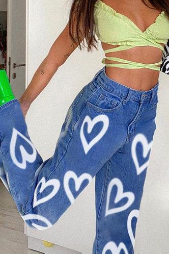 front_Dahlia Elma Blue Heart Print Jeans