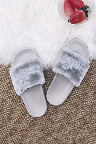 back_Ethel Evangeline Grey Plush Slides