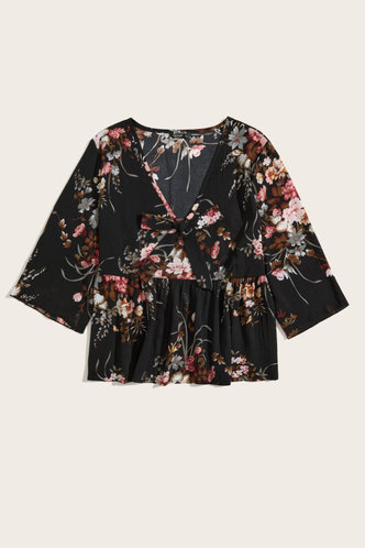 back_Tracy Edith Black And Floral Print Plus Blouse
