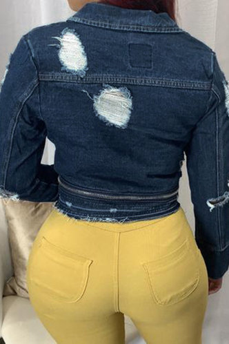 back_Rosie Elma Dark Blue Denim Jacket