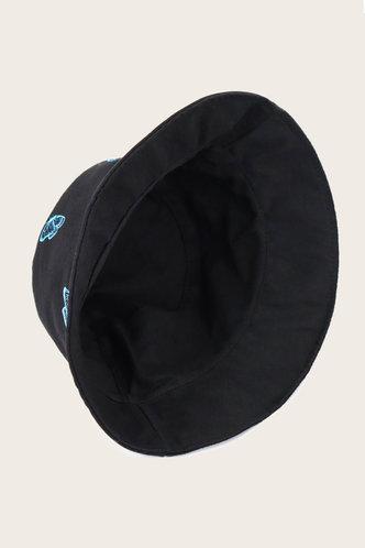 back_Ilse Elsie Black Butterfly Print Bucket Hat