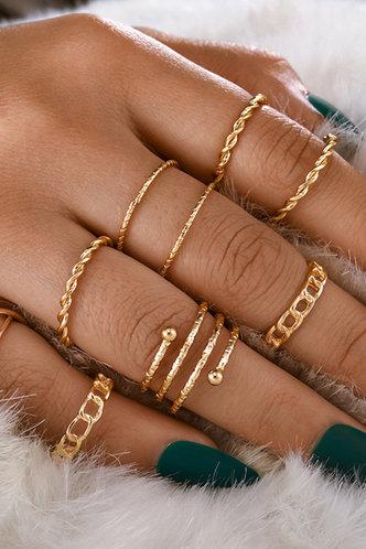 front_Jasmine Elsie Gold Simple Metal Ring 8pcs