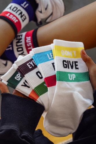 front_Letter Print Multicolor Socks & Tights