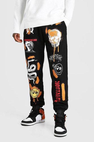 back_High Waist All over print Black Pants