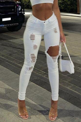 front_Mid Waist Plain Straight Leg White Women Jeans