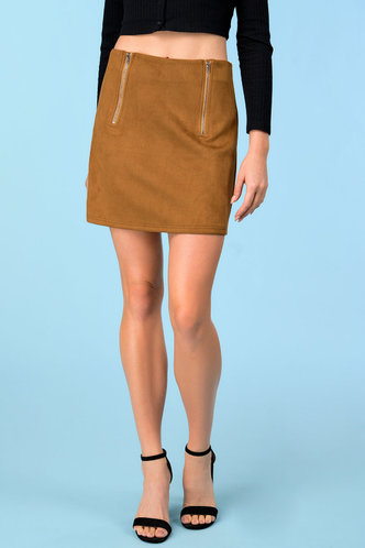 front_Going Retro Brown Skirt