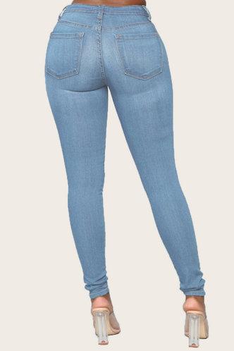 back_Mid Waist Plain Pocket Pencil Pants Wash Blue Women Jeans